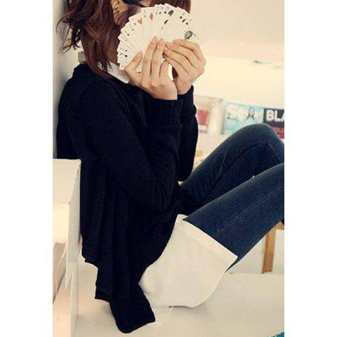 Casual Style Scoop Neck Shirt Splicing Long Sleeve Cotton Blend Women's False Twinset Cardigans - AS THE PICTURE ONE SIZE