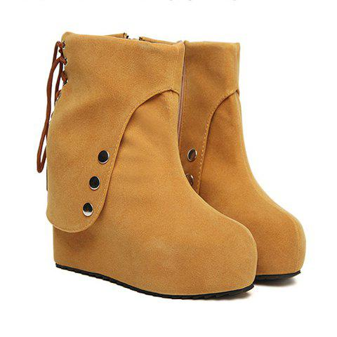 Casual Suede Solid Color Wedge Heel Rivet Lace-Up Design Women's Short Boots - BROWN 36