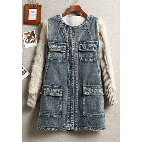 Stylish Scoop Neck Long Sleeve Denim Splicing Imitation Fur Embellished Women's Coat - AS THE PICTURE S