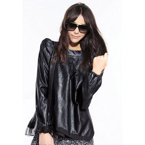 Modern Style Stand Collar Slant Zipper Design Lace Splice Puff Sleeve Black Color PU Leather Women's Coat - BLACK S