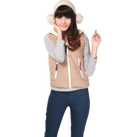 Khaki Zipper Hooded Women's Waistcoat