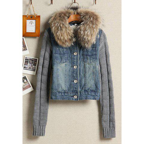 Stylish Removable Imitation Fur Lapel Collar Long Sleeve Splicing Denim Women's Coat - AS THE PICTURE L