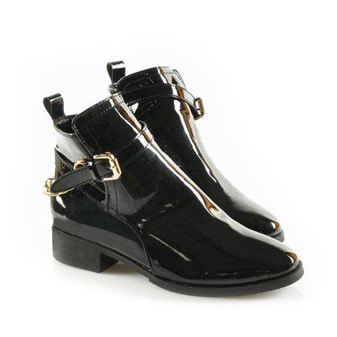 Stylish Casual Pure Color and Metal Chain Design Women's Knight Boots - BLACK 36