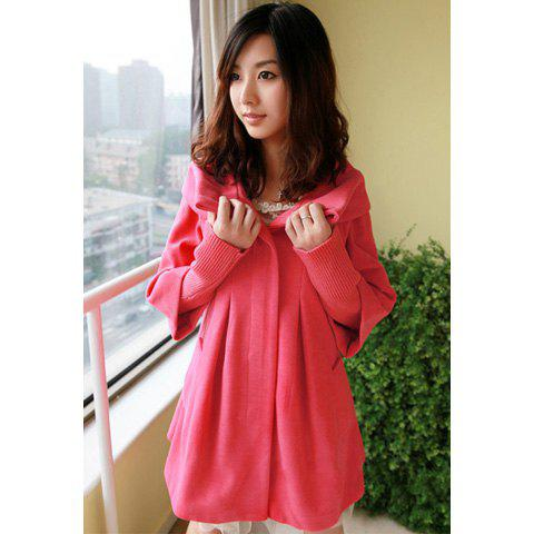 Elegant Turndown Collar Solid Color Knitting Splicing Long Sleeves Women's Wool Blend Coat - WATERMELON RED M