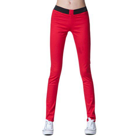 Elastic Waist Stretch Candy Color Women's Pencil Pants - RED M