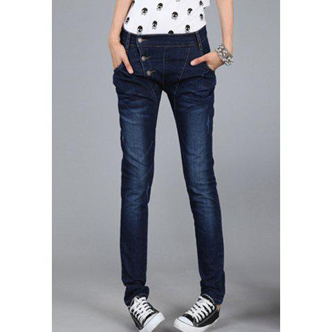 Modern Style Slimming Elastic Inclined Closure Design Jeans Women's Pencil Pants - DEEP BLUE 26
