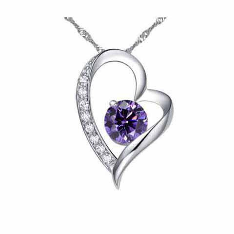 Fashion Ladylike Style Openwork Heart-shaped Purple Crystal Ball Embellished Pendant - AS THE PICTURE