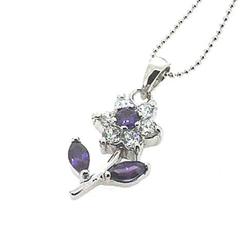Elegant Style Exquisite Rhinestoned Flower Shape Pendant - PURPLE