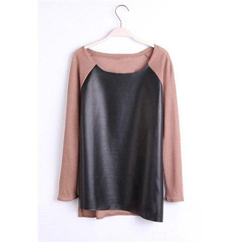 Casual Scoop Neck Long Sleeve Faux Leather Splicing Women's Blouse - COFFEE S