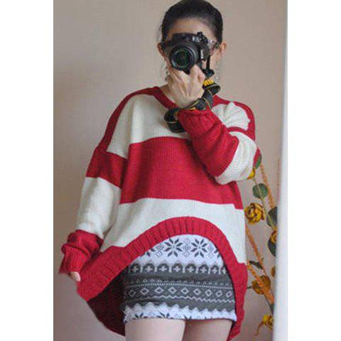Asymmetrical Hem Stripes Color Matching Women's Sweater - RED ONE SIZE