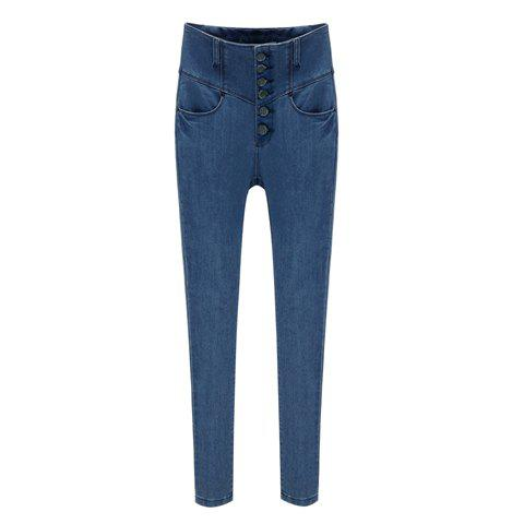 Modern Style Slimming High Waist Closure Design Jeans Women's Pencil Pant