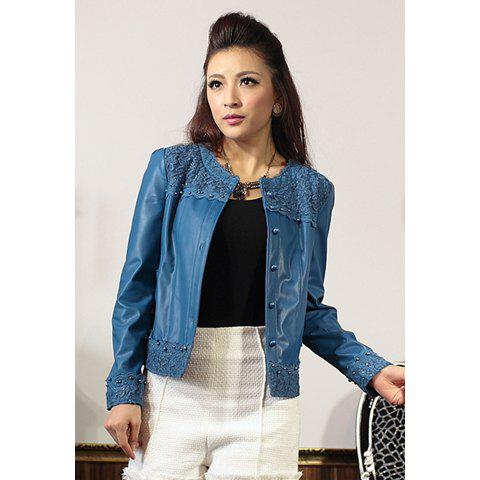 Modern Style Scoop Neck Lace Splicing Long Sleeve Faux Leather Women's Jacket - BLUE XL