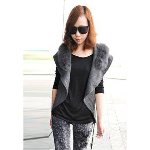Stylish Lapel Sleeveless Solid Color Imitation Fur Embellished Women's Waistcoat With Blet - DEEP GRAY