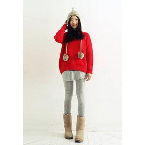 Loose-Fitting Round Neck Long Sleeve Knitwear Women's Sweater - RED ONE SIZE