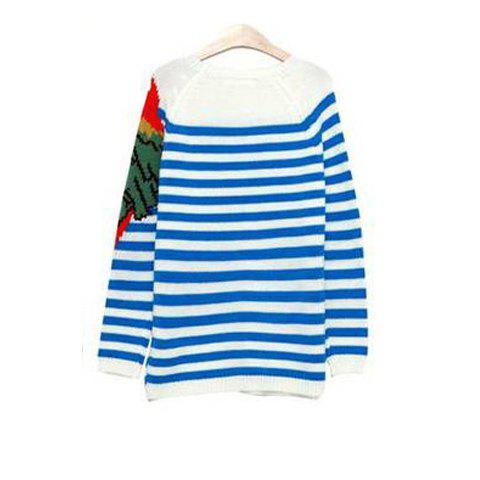 Parrot Pattern Stripes Long Sleeve Women's Sweater - BLUE ONE SIZE