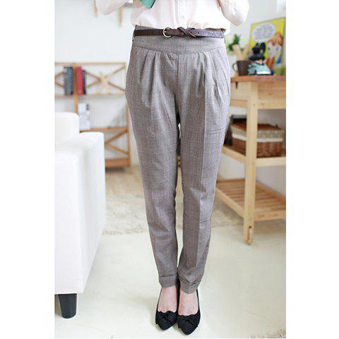 Stylish High Waist Checked Crease Design Women's Cotton Blend Pants - AS THE PICTURE M