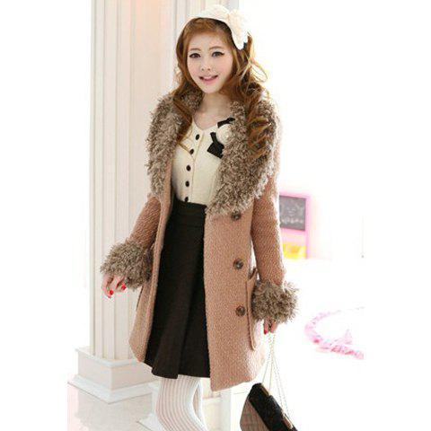 Elegant Style V-Neck Slimming Double Breasted Fur Splicing Long Sleeve Wool Blend Women's Coat - KHAKI L