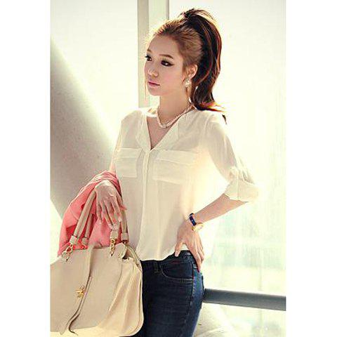 Charming V-Neck Loose Fit Long Sleeves White Chiffon Casual Women's Shirt