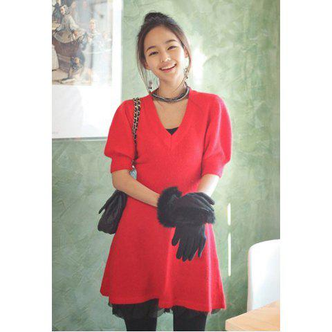 Graceful V-Neck Elastic Waist Slimming Short Bubble Sleeves Women's Red Woolen Yarn Dress - RED ONE SIZE