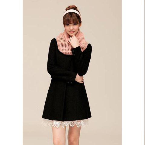 Ladylike Round Collar Detachable Lace Narrow Waist Long Sleeve Slimming Woolen Blend Women's Overcoat - BLACK M