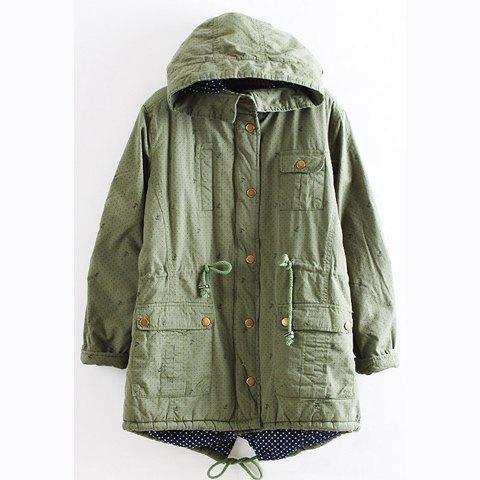 Casual Hooded Long Sleeve Solid Color Anchor Polka Dot Embellished Women's Coat - GREEN