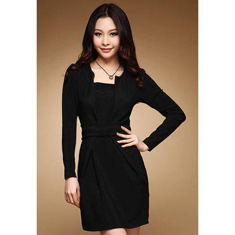 Elegant Round Collar Fake Two-Piece Narrow Waist Slimming Long Sleeve Solid Color Women's Dress - BLACK L