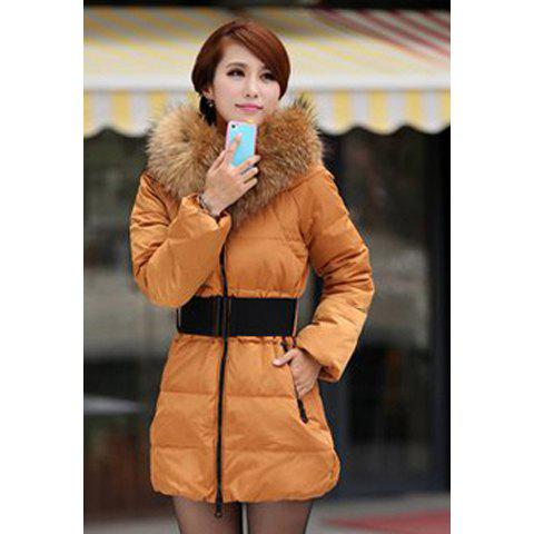 Casual Stand Neck Plus Size Faux Fur Collar Long Sleeves Thicken Warm Eiderdown Women's Coat - YELLOW 3XL