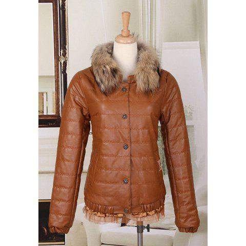 Simple Style Scoop Neck Solid Color Fur Collar Lacework Hem Long Sleeves Plus Size Cotton Blend Women's Jacket - KHAKI XL