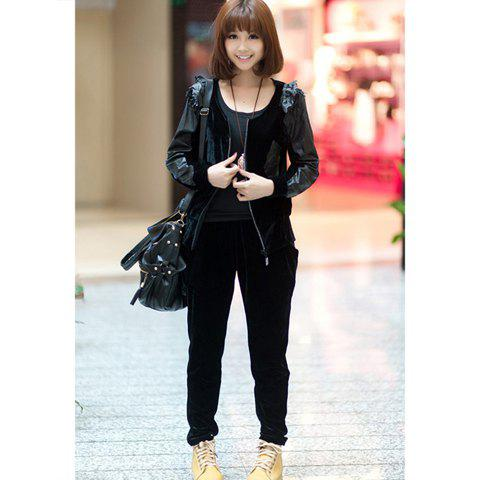 Casual Style Scoop Neck Faux Leather Splicing Long Sleeve Pleuche Women's Suit - BLACK ONE SIZE