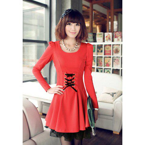 Ladylike Scoop Neck Slimming Lace-Up Long Sleeved Women's Dress - JACINTH M