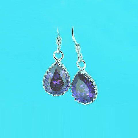 Exquisite Ladylike Style Waterdrop Shape Crystal Embellished Earrings For Women - AS THE PICTURE