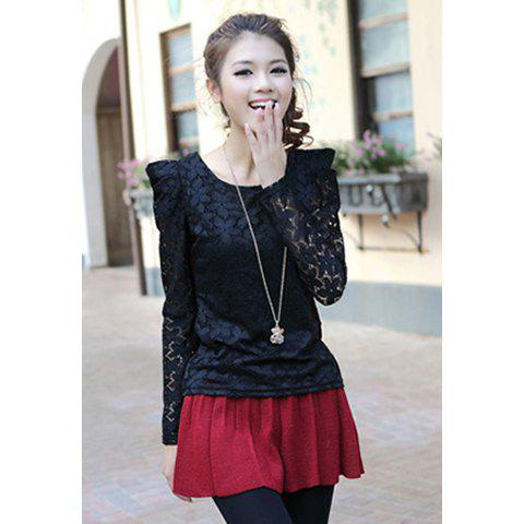 Sweet Scoop Neck Floral Print Slimming Puff Sleeve Solid Color Lace Women's Blouse - BLACK S