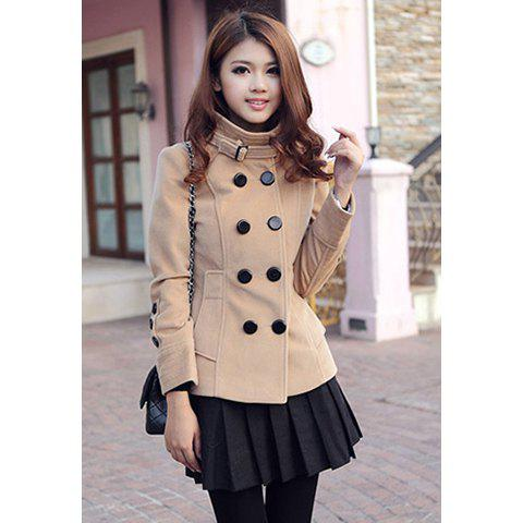 Glamour Style Lapel Neck Double Breasted Slimming Long Sleeve Solid Color Artificial Cashmere Women's Coat - CAMEL S
