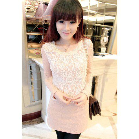 Elegant Scoop Neck Lace Splicing Long Sleeves Solid Color Slimming Cotton Blend Women's Dress - PINK ONE SIZE