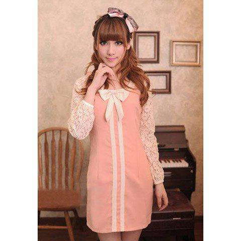 Sweet Scoop Neck Long Sleeve Lace Splicing Bowknot Embellished Women's Dress - PINK S