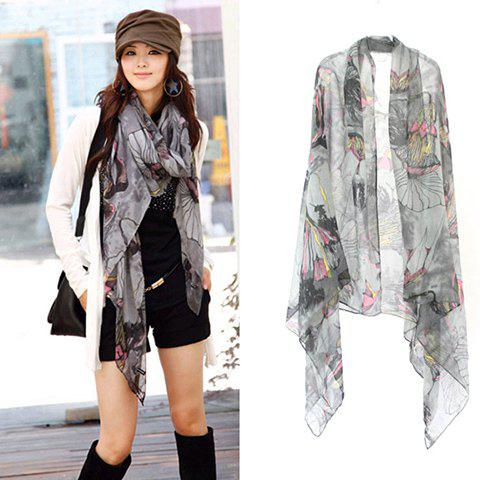 Fashion Elegant Style Colorful Flower Pattern Women's Scarf - APRICOT