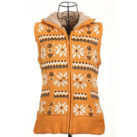 Winter Fashion Snowflake Jacquard Hooded Women's Christmas Waistcoat With Warm and Fluffy Lining - YELLOW ONE SIZE