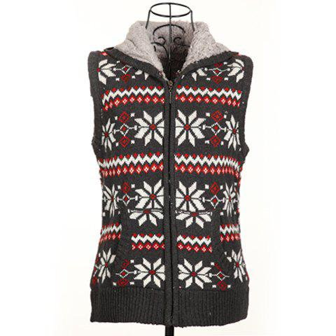Winter Fashion Snowflake Jacquard Hooded Women's Christmas Waistcoat With Warm and Fluffy Lining - DEEP GRAY ONE SIZE