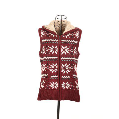 Winter Fashion Snowflake Jacquard Hooded Women's Christmas Waistcoat With Warm and Fluffy Lining - DEEP RED FREE SIZE