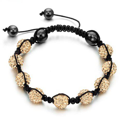 New Arrival Graceful Rhinestoned Beads Women's Braided Bracelet - CHAMPAGNE