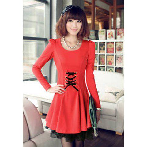 Fashionable Round Neck Waist Lace Up Lace Hem Puff Sleeve Slimming Women's Pleated Dress - WATERMELON RED L