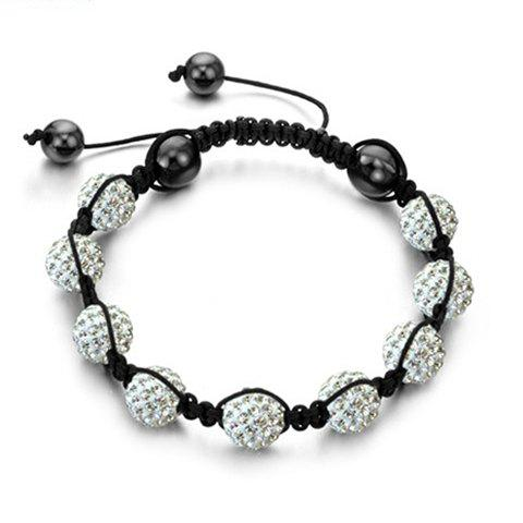 Korea Graceful Style Rhinestoned Beads Design Women's Braided Bracelet - WHITE