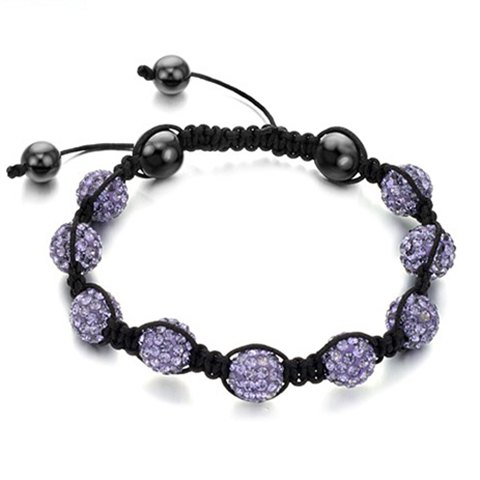 Fashion Elegant Style Rhinestoned Beads Women's Braided Bracelet - PURPLE