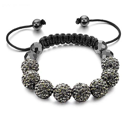 Fashion Elegant Style Rhinestoned Magnet Beads Women's Braided Bracelet - BLACK