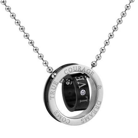 Retro Style Double Ring Letter Print and Rhinestone Inlaid Pendant Necklace For Couples - BLACK