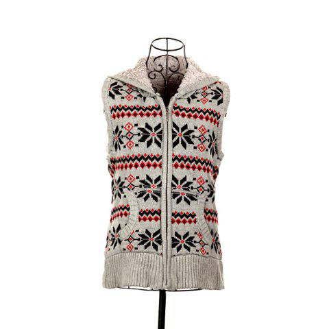 Winter Fashion Snowflake Jacquard Hooded Women's Christmas Waistcoat With Warm and Fluffy Lining - LIGHT GRAY ONE SIZE