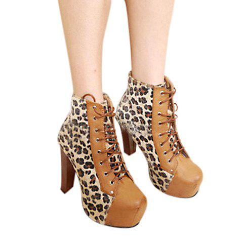 Casual Color Matching Splicing Leopard Patterns Lace-Up Design Women's Boots - BROWN 35
