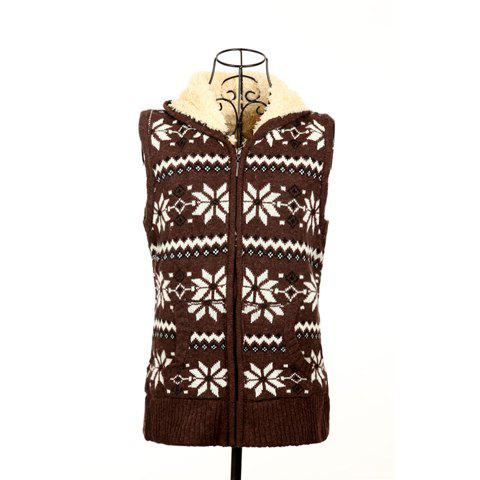 Winter Fashion Snowflake Jacquard Hooded Women's Christmas Waistcoat With Warm and Fluffy Lining - COFFEE ONE SIZE