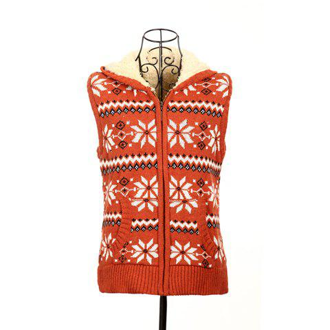 Winter Fashion Snowflake Jacquard Hooded Women's Christmas Waistcoat With Warm and Fluffy Lining - JACINTH ONE SIZE