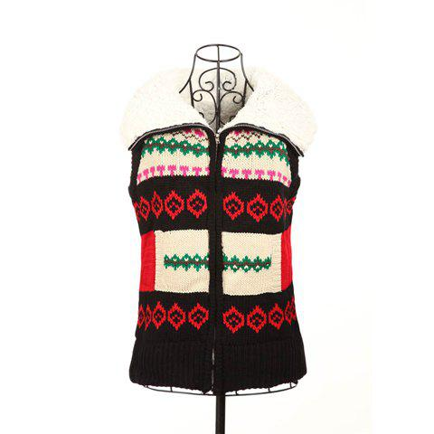 Winter Fashion Color Block Jacquard Hooded Women's Christmas Waistcoat With Warm and Fluffy Lining - ONE SIZE BLACK